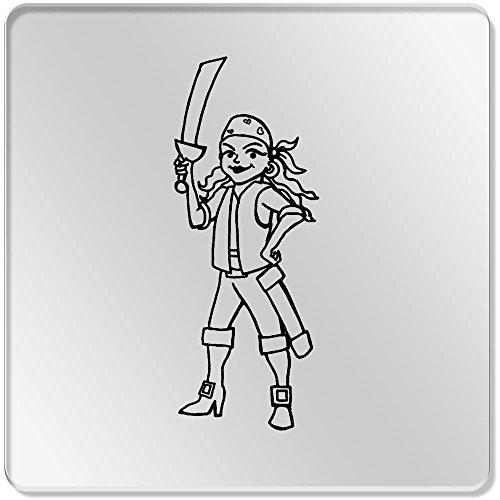6 x 'Weiblicher Pirat' Klar Untersetzer (Weibliche Piraten)