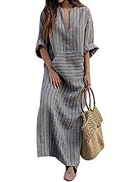 79f981562f BBYES Women Vintage Loose Striped Long Sleeve Casual Kaftan Boho Maxi  Cotton Linen Dresses