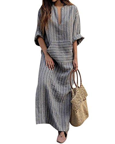 BBYES Women Vintage Loose Striped Long Sleeve Casual Kaftan Boho Maxi Cotton Linen Dresses S-5XL (Grey, Large)