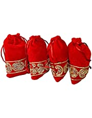 Srajan creation Velvet Zardosi Work Beautiful Potli Bags for Women -(Red) (Pack of 4)