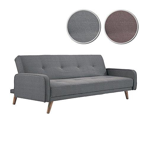 Adec - Sofá cama patas nordic modelo Nilsson, tapizado en tejido tex Gris medidas: 198 x 85 cm fondo