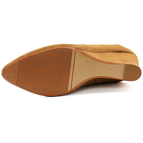 Allegra K Chaussures femmes Talon bottines cheville fermeture Éclair Camel