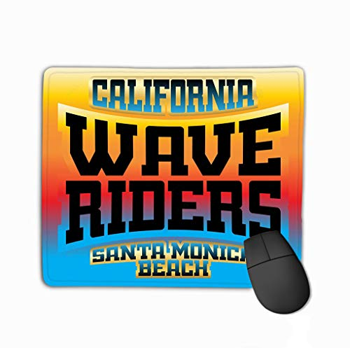 Mouse Pad Wave Riders Rainbow Typography California Beach Retro Athletic Style Fashion stylish Print Sports wear Rectangle Rubber Mousepad 11.81 X 9.84 Inch -