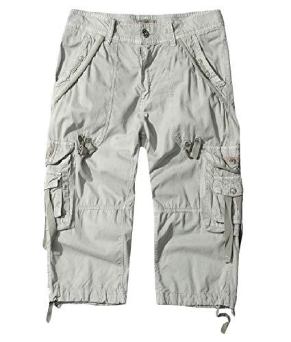 VITryst Herren Cargohose, mittlere Taille, 4/5 Länge, Standard-Fit, Baggy-Waschung, mehrere Taschen Gr. 37, As1 -