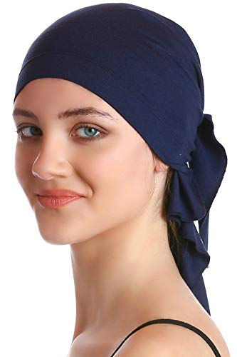 Deresina Headwear Unisex Baumwolle Bandana Fur Haarverlust (Marine) (Herren Turban Hut)