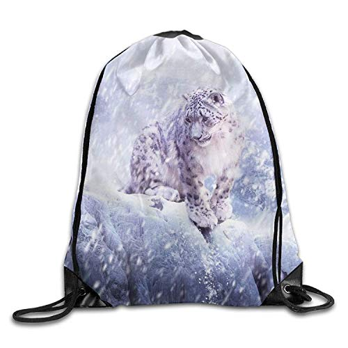 HLKPE Gym Drawstring Bag Backpack Leopard Animal Unisex Gym Sport Bag, Large Lightweight Gym Sackpack