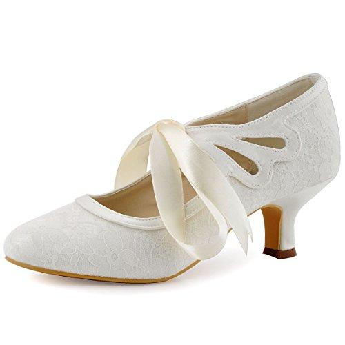 Elegantpark HC1521 Escarpins Femme Dentelle Ruban Mary Janes Bout Rond Chaussures de Mariee Mariage Bal Ivoire 42