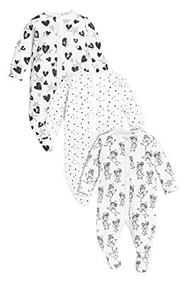 next Bebés Niñas Paquete De 3 Pijamas Peleles Hada Monocromo De Algodón (0 Meses-2 Años)