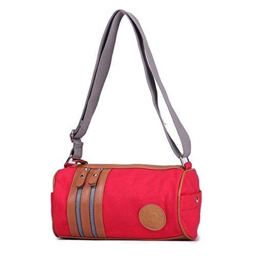 Eshow Damen Canvas Freizeit Sport Umhägentasche Schultertasche Taschen Rot