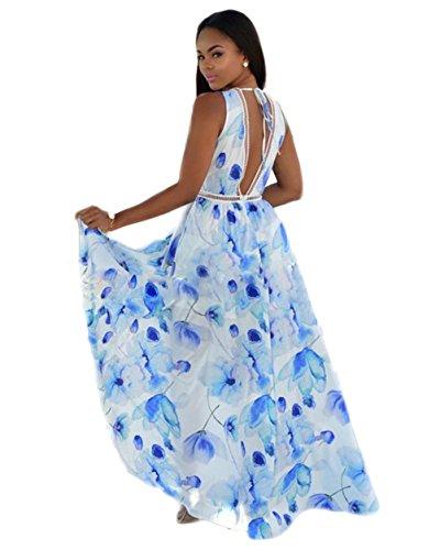 Femmes Sexy Boho Impression Floral Robe de plage en mousseline de soie Irrégulière robe de Clubwear 4 #