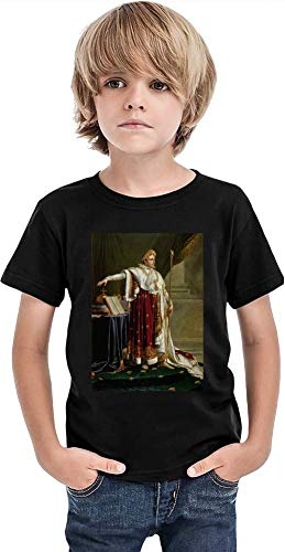 Top Paintings of All Time Anne-Louis Girodet-Trioson - Napoleon Painting Stylish T-Shirt for Boys Fashion Fit Kids Printed Clothes by 12+ Yrs - Napoleon Top