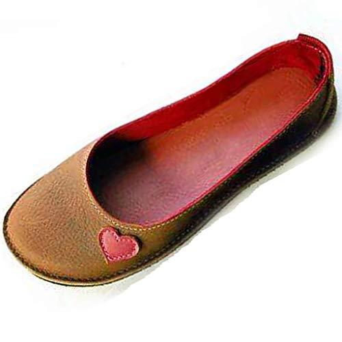 Damen Sommer Sandalen Halbschuhe Bootsschuhe Loafers Fahren Flache Schuhe Slippers Erbsenschuhe Low-top Schuhe Vintage Komfort Arbeitsschuhe (EU:39, Brown)