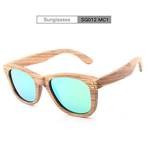 Schattierung Holz Handgemachte Farbe Spiegel Objektiv Polarisierte Sonnenbrille Klassische Niet Bambus Gläser for Männer Frauen Mode Zebra Holz Sonnenbrille for Unisex Uv400 ( Color : Mc1 )