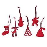 Primetrade 18 Addobbi Natalizi in Feltro Rosso, 6 Motivi Diversi. Set addobbi di Natale per Decorazioni di Natale. Ideale per ghirlande, Alberi e Molto Altro.