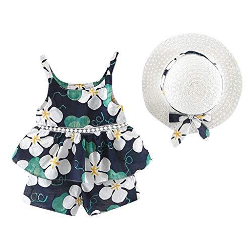 Mode Kinderkleidung Weste Anzug kleines Mädchen Blume Obst Träger Tops Shorts Hüte Freizeitkleidung (Dezember - 4 Jahre alt)(7) (Hut Träger)