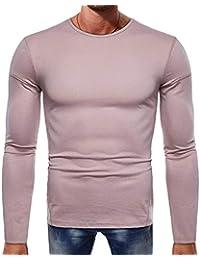 ALIKEEY Hombres De Manga Larga Botón Beefy Musculo Solido Basico Pure Color Blusa tee Shirt Top