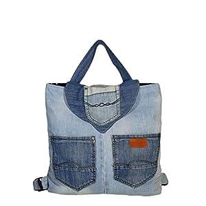 Rucksack Damen Groß Handgemacht aus Recycelten Jeans mit verstellbaren Schulterriemen 44 x 42 x 11 cm, Hellblau