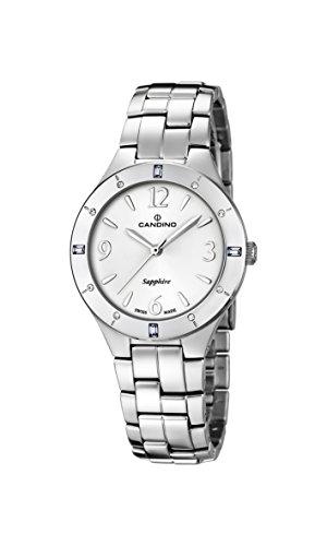 Candino Damen Quarzuhr mit weißem Zifferblatt Analog-Anzeige und Silber Edelstahl Armband C4571/1