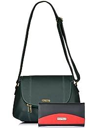 Fostelo Women's Combo Handbag & Clutch (Green & Black) (FSB-1130-FC-13)
