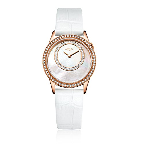 Rotary Women's Quartz Watch with Mother Of Pearl Dial Analogue Display and White Leather Strap LS00654/07