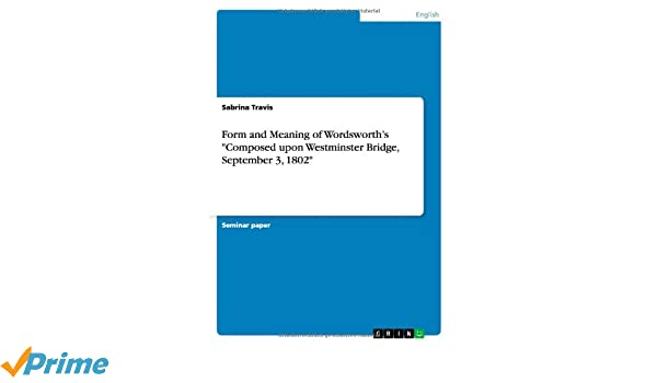 Buy Form And Meaning Of Wordsworths Composed Upon