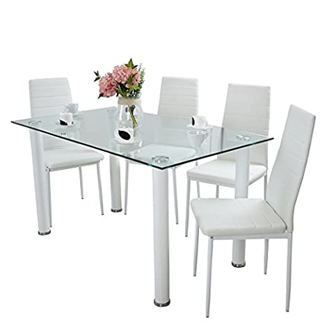 Panana Glass Dining Table Set with 4 Faux Leather White Chairs Seats Home Dining Room Furniture 140cm x 80cm x