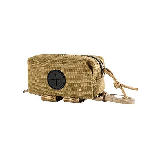 OneTigris Hundekotbeutelhalter mit Reißverschluss für Hundekotbeutel, Leinenbefestigung für Wandern, Training, Laufen, Wandern, Coyote Brown - Small Size -