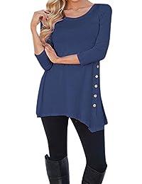 SHOBDW Mujeres de Manga Larga Suelta Botón Trim Blusa de Color Sólido Cuello Redondo Túnica Camiseta