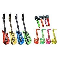 babygiraffe® 12pcs Inflatable Toy Party Bundle Set 4 Guitars 4 Saxophones 4 Microphones