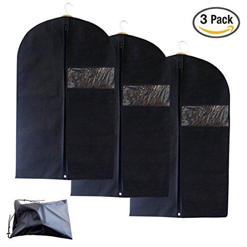 UKGOOD 3 × pack Kleidungsstück-Umhängetasche mit Schuhtasche - atmungsaktiv und wasserdicht und staubdicht Kleidersack-Umhänge für Anzugträger, Kleider, Leinen, Aufbewahrung oder Reise - Klarsichttas