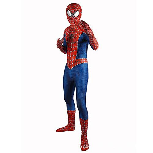 AKCHIUY Spiderman Kostüm Junge, Halloween Superheld Spandex Body Geburtstag Abnehmbare Maske Sport Hochelastische Strumpfhose,Adult-S (Sport-halloween-kostüme Für Jungen)