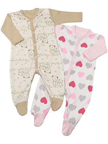 Baby Mädchen Schlafanzüge (2er Pack) Herz Rosa Beige Bär 22813 Größe 74 -