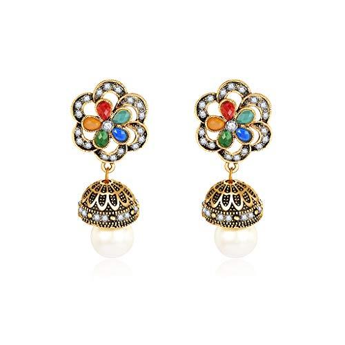 f Ethnische Ohrringe Vintage Antike Brincos Frauen Schmuck Baumeln Floral Geschnitzte Hohle Perle Anhänger Geometrische Aussage Charme Luxus Retro Geschenke ()
