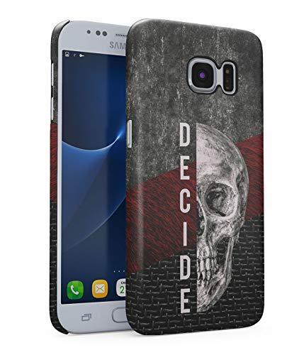 atibel mit Samsung Galaxy S7 Decide Schädel Skelett Gotisch Gau Marmor Marble Realistic Human Skull Grunge Skeleton Gothic Quote Depression eng Anliegendes Dünnes Handyhülle ()
