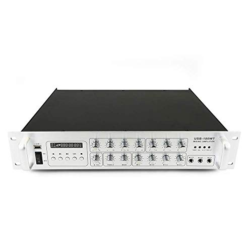 BeMatik - Amplificazione del Suono Professionale 180W 110V 4 Zone con MP3 AUX Mic Rack
