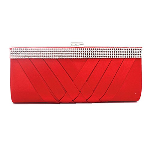 YYW Crystal Clutch Bag, Poschette giorno donna Red