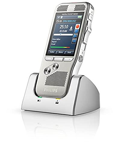 Philips DPM8000 Pocket Memo Slide Switch Control Voice Recorder with SpeechExec Pro Software, large high-res backlight color display, stainless steel, Li-Ion battery, motion sensor, PIN lock, anthracite