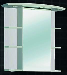 Armoire miroir avec éclairage Bois massif Pin Massif Laqué Blanc transparent