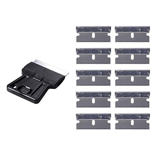 Ehdis Sicherheit Farbschaber Mini Razor Schaber mit 10 Extra 1,5-Zoll-One-Edged High Carbon-Rasierklingen für Windows Film Installieren des Autotönungs ... Double Edge Scraper Blade