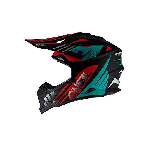 O\'Neal 2 Series Spyde 2.0 Motocross Enduro MTB Helm schwarz/rot/türkis 2020 Oneal: Größe: M (57-58cm)