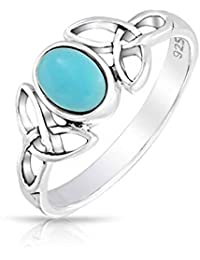 AG2AU Sterling Silver Celtic Toe Ring with Round Reconstructed Turquoise / Adjustable nrOHc