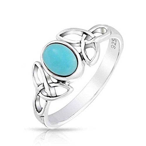 Celtic Trinity Knot Triquetra Ring Für Jugendlich Band Blue Stabilisiert Türkis Sterling Silber Ring Dezember Birthstone (Birthstone Ringe Prime)