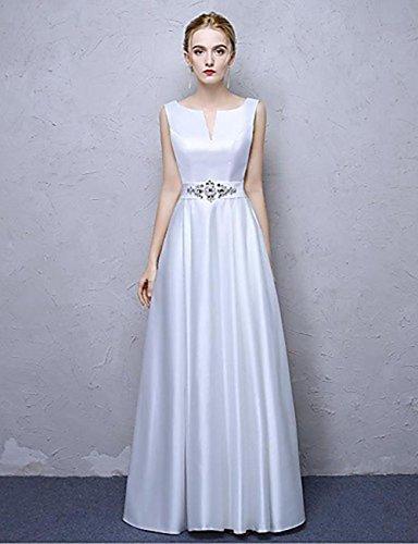 AIURBAG A-line V-Ausschnitt Knöchel Länge Satin Chiffon formalen Abendkleid mit Kristall Detaillierung , us 4 / uk 8 / eu 34 (Formalen Kleid Abendkleid)