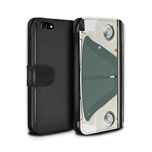 STUFF4 PU-Leder Hülle/Case/Tasche/Cover für Apple iPhone 8 / Sahara Beige Muster / Retro Beetle Kollektion Altes Auto/Rostig