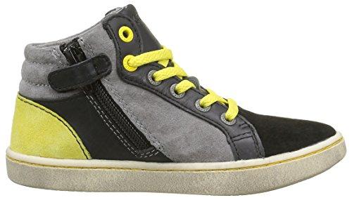 Kickers Lynx, Sneakers Hautes garçon Noir (Noir/Jaune)