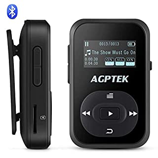 AGPTEK Bluetooth MP3 Player 8GB Clip Music Player with Sweat-proof Silicone Case & Armband,Sport Portable Lossless Sound Players with FM Radio Voice Recorder, Support up to 64GB