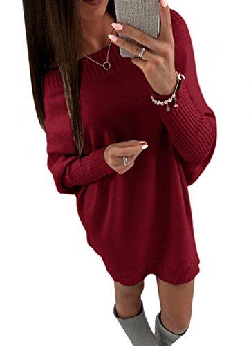 Foluton Damen Strickpullover Sweater Herbst Winter Casual Rundhals Strickpulli Einfarbig Langarm Gestrickte Pullover Tunika Bluse Oberteile Tops Sweatkleid (Belted Wolle Hosen)