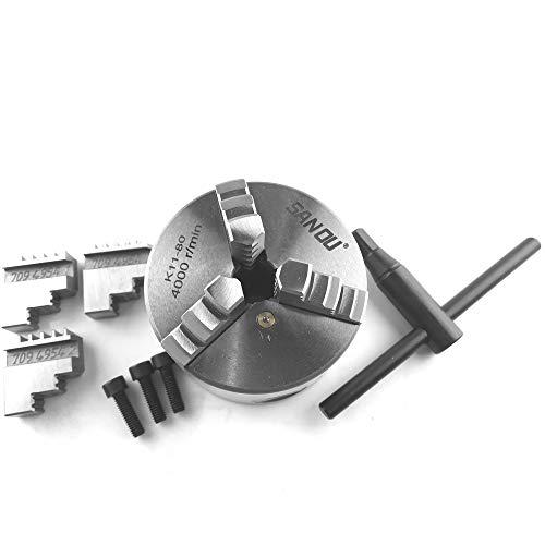 KKmoon Mandrino Autocentrante a Tre Griffe per Tornio Meccanico Fresatrice per Foratura Mini Parti Metalliche in Metallo K11-80