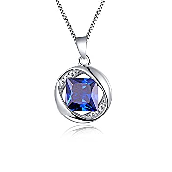 "Aurora Tears Jewellery September Birthstone Sapphire Pendant 925 Sterling Silver Necklace 18"" Dp0029s 1"