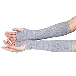 New Akira 34*18cm Long Sleeve Striped Fingerless Gloves Lady Stretchy Soft Knitted gloves (Gray)